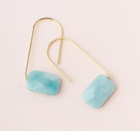 Floating Stone Earring - Amazonite/Gold (EF005)