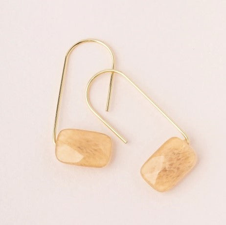 Floating Stone Earring - Citrine/Gold (EF002)