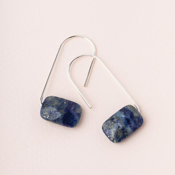 Floating Stone Earring - Lapis/Silver (EF004)