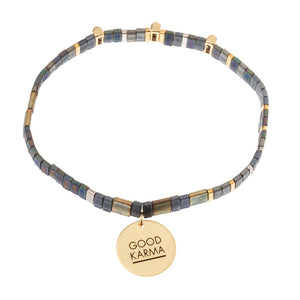 Good Karma Miyuki Charm Bracelet | Good Karma - Oil Slick/Sparkle/Gold (GC001)