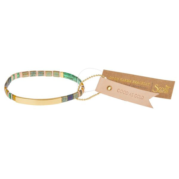 Good Karma Miyuki Bracelet | Good as Gold - Forest/Blush/Gold (GK013)
