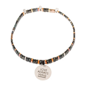 Good Karma Miyuki Charm Bracelet | Love Always Wins - Eclipse/Sparkle/Silver (GC003)