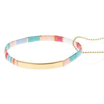 Good Karma Miyuki Bracelet | Good As Gold - Aqua Multi/Gold (GK005)