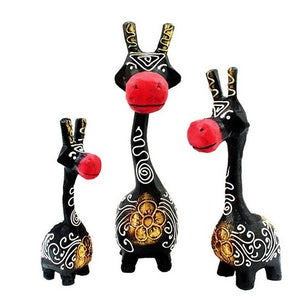Wooden Giraffe Figurines-Brown