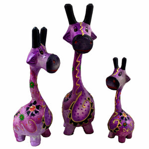 Wooden Giraffe Figurines-Purple
