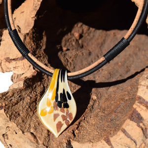 Yellow Murano Glass Cork Necklace (N81-2)