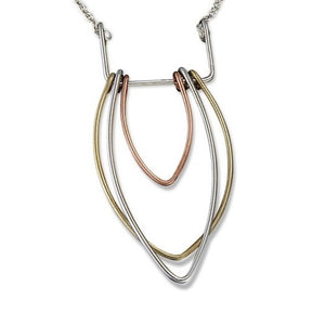 Tri-Metal Drop Necklace (N3125)
