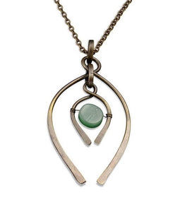 Aventurine Double Wishbone Necklace (N3215)