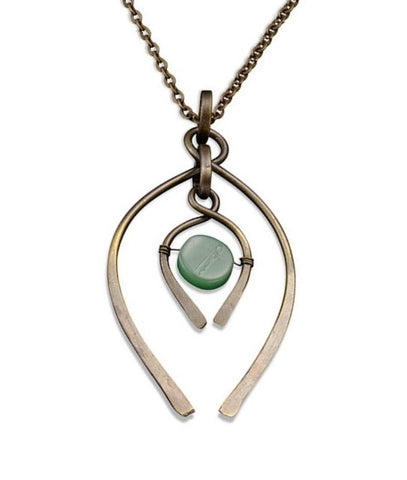 Aventurine Double Wishbone Necklace