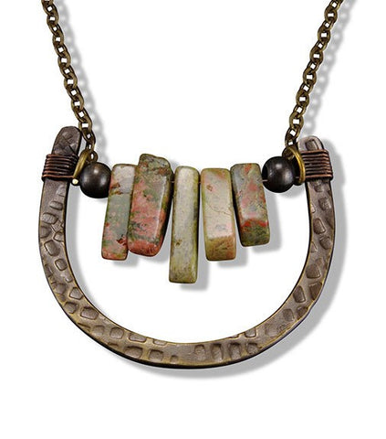 Unakite Wishbone Necklace (N3223)