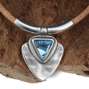 Aquamarine Swarovski Silver Satin Crystal Necklace (N63-2)