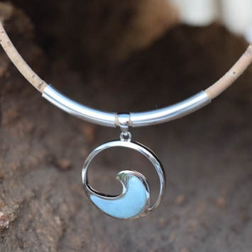 Sterling Silver with Larimar Wave Necklace (N65)