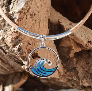 Sterling Silver with Opal Wave Necklace (N78)