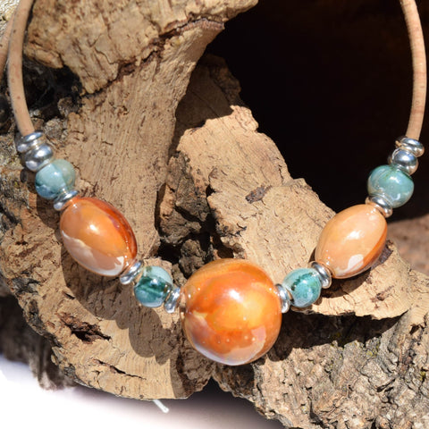 Orange/Green Ceramic Beaded Cork Necklace (N44)