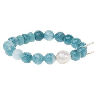 Pearl & Gemstone Bracelet - Sea Blue Agate (PB004)