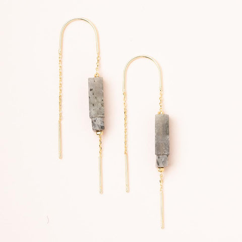 Rectangle Stone Earring - Labradorite/Black/Gold (ET006)