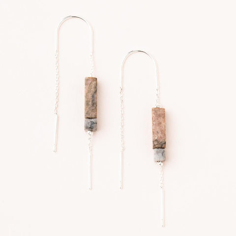 Rectangle Stone Earring - Rhodonite/Black/Silver (ET005)
