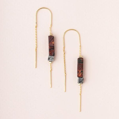 Rectangle Stone Thread Earring - Majestic Jasper/Black/Gold (ET007)