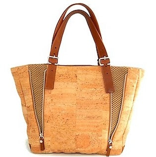 Cork Leather Strap Shoulder Bag