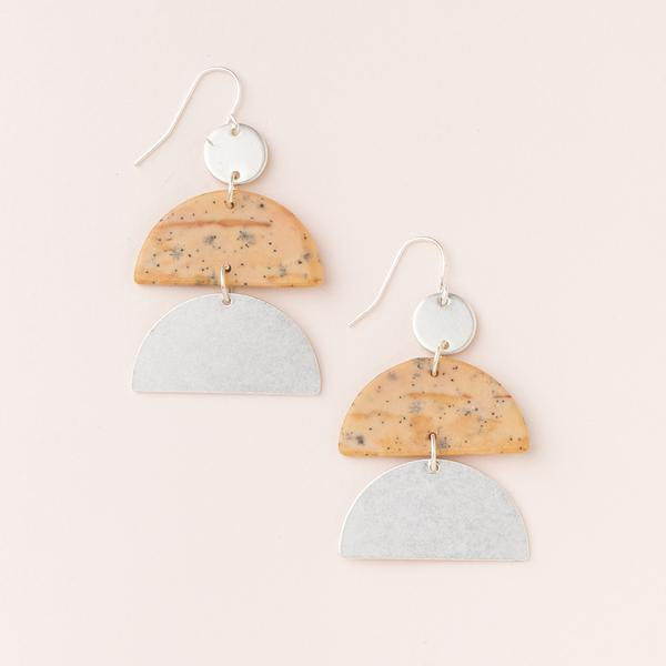 Stone Half Moon Earring - Petrified Wood/Silver EH004