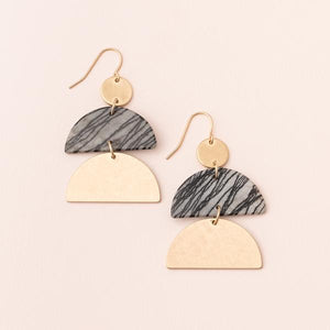 Stone Half Moon Earring - Picasso Jasper/Gold (EH001)