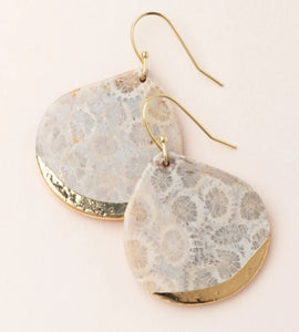 Stone Dipped Teardrop Earring - Fossil Coral/Gold (ED007)