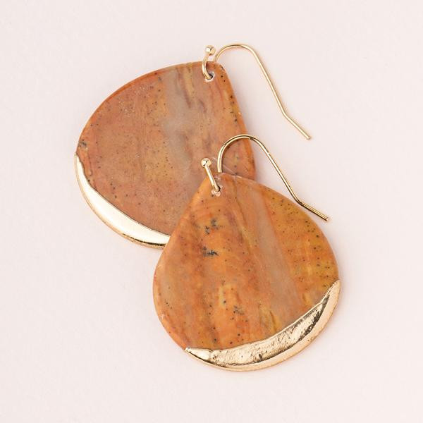 Stone Dipped Teardrop Earring - Petrified Wood/Gold (ED004)