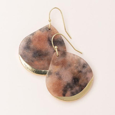 Stone Dipped Teardrop Earring - Pink Agate/Gold (ED009)