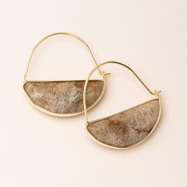 Stone Prism Hoop - Fossil Coral/Gold (EP014)