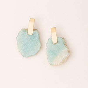 Stone Slice Earring - Amazonite/Gold (EG005)