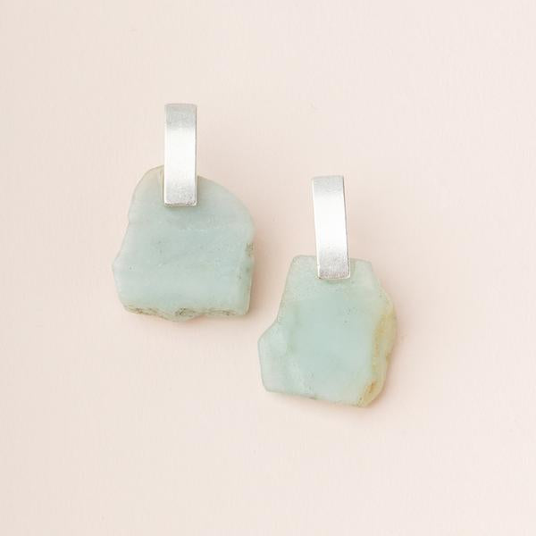 Stone Slice Earring - Amazonite/Gold (EG006)