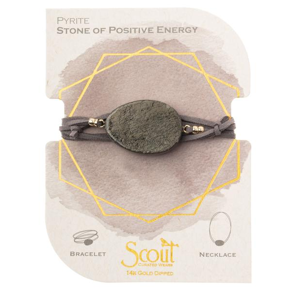 Suede/Stone Wrap - Pyrite/Gold/Stone of Positive Energy (SL011)