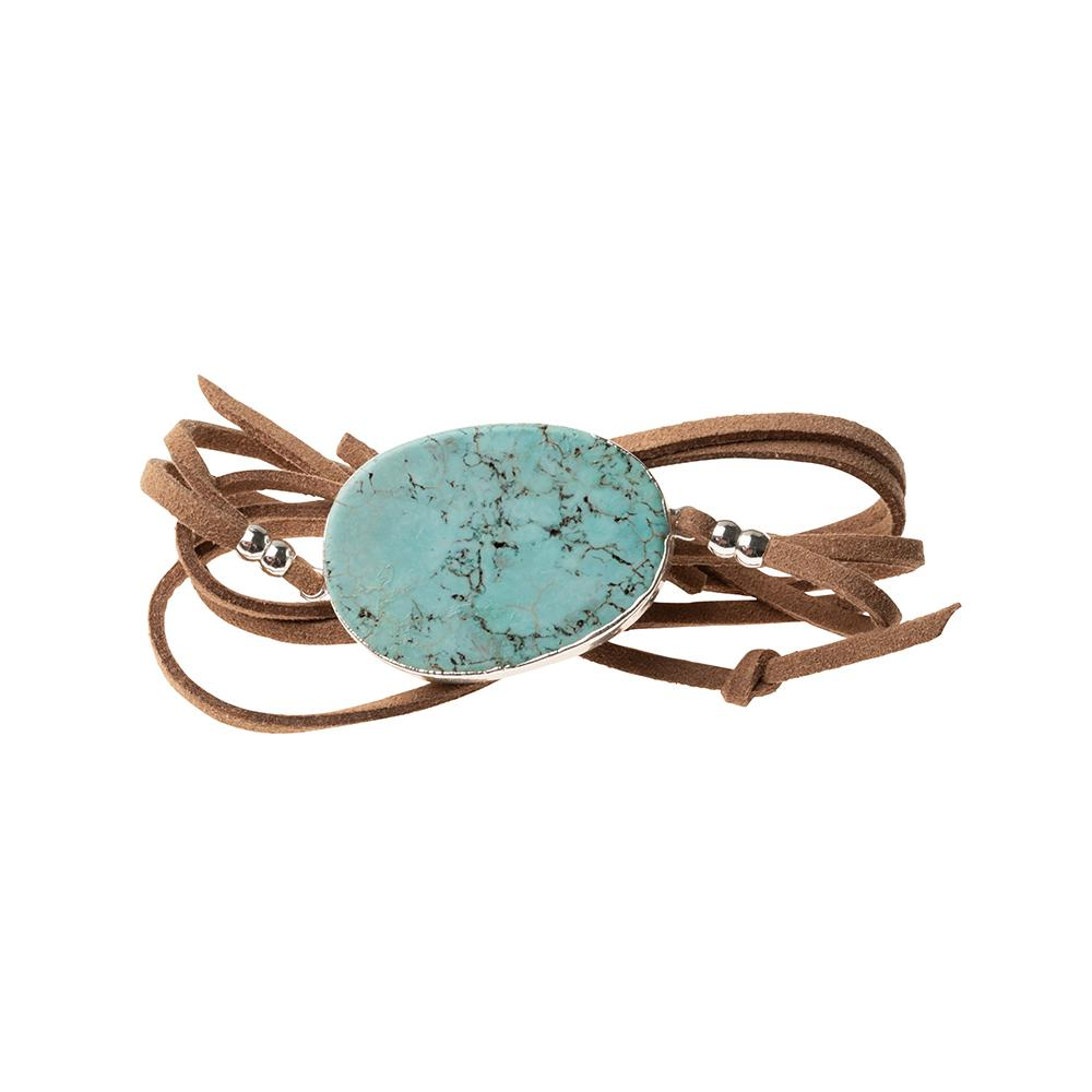 Suede/Stone Wrap - Turquoise/Silver/Stone of the Sky (SL008)