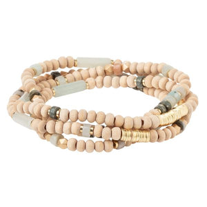 Wood, Stone & Metal Wrap - Amazonite/Gold (WB004)