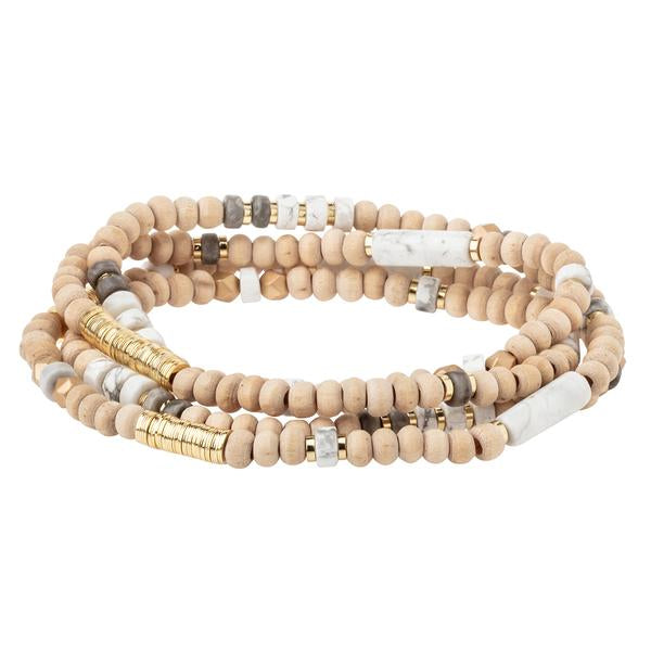 Wood, Stone & Metal Wrap - Howlite/Gold (WB003)