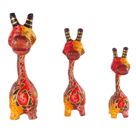 Wooden Giraffe Figurines-Orange