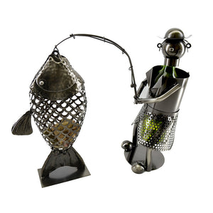 Fisherman Wine Holder with Fish Cork Holder (ZB1430)