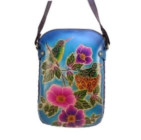 Hummingbird with Flowers Cross-body Purse (AY46)