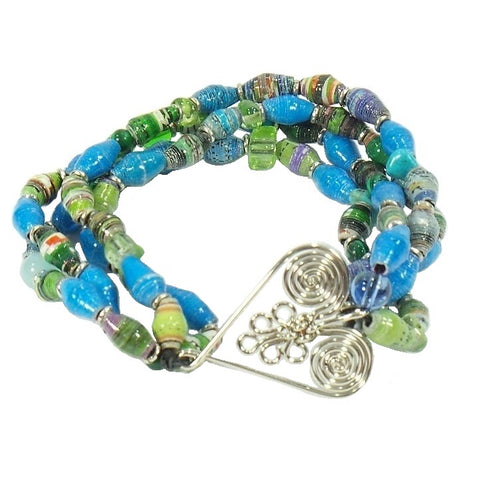 Blue Green Healing Hearts Recycled Stretch Bracelets (HRT-206HW)