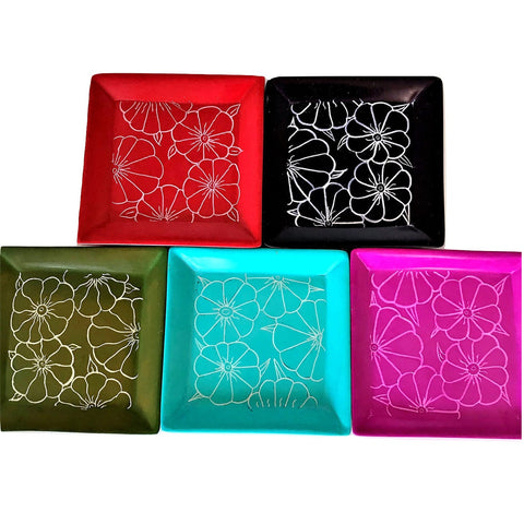 Square Flower Etched Plates (C4239)