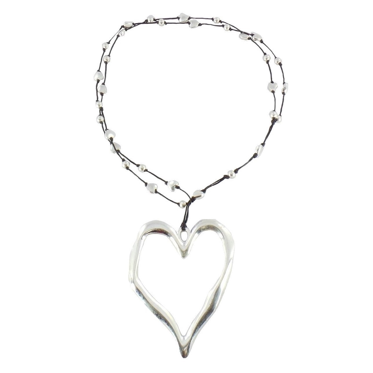 Open Heart Silver Necklace