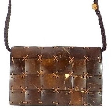 Coconut Shell Cross-body Purse with Macrame Strap