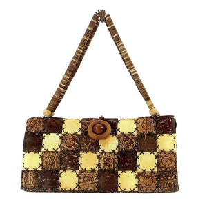 Coconut Shell Purse with Coconut Disk Handle