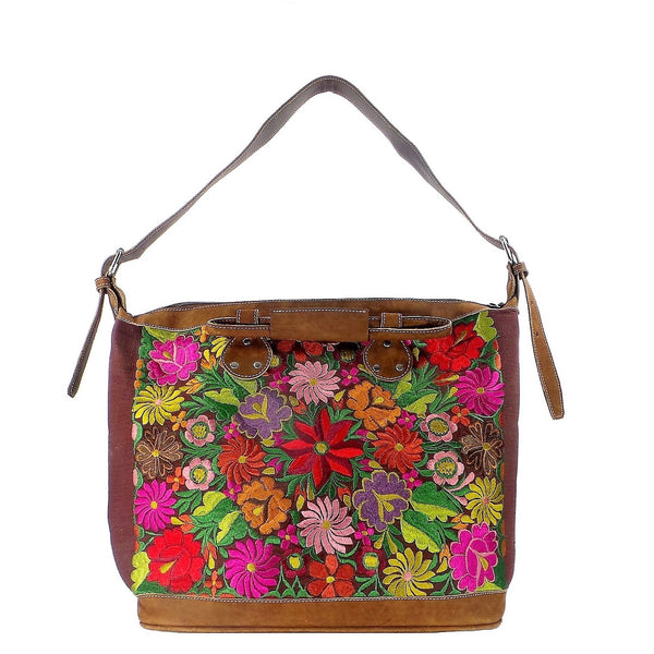 Brown Embroidered Tote (AP26)
