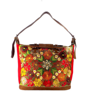 Red Embroidered Tote