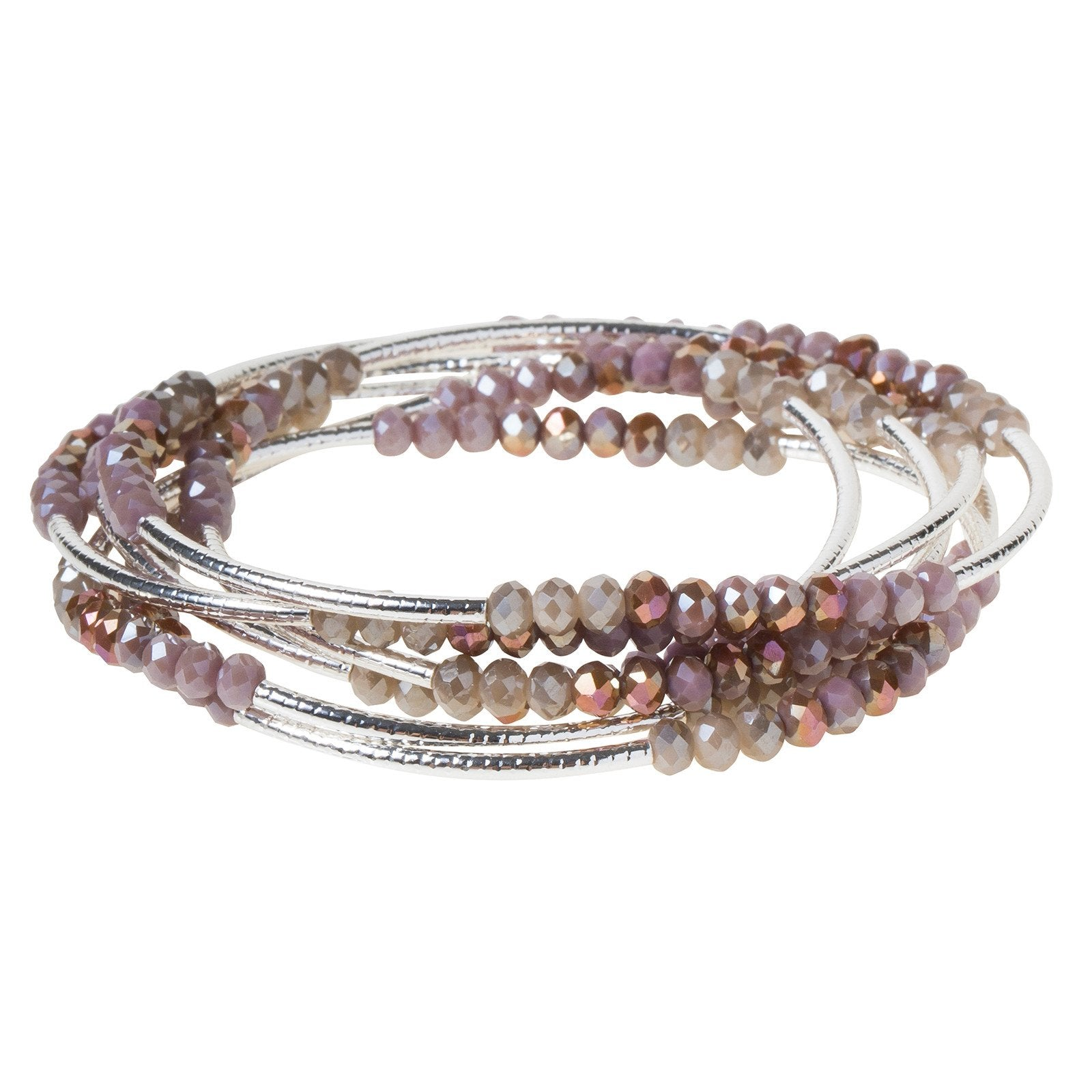 Mauve Combo/ Silver Crystal Wrap (BR022)