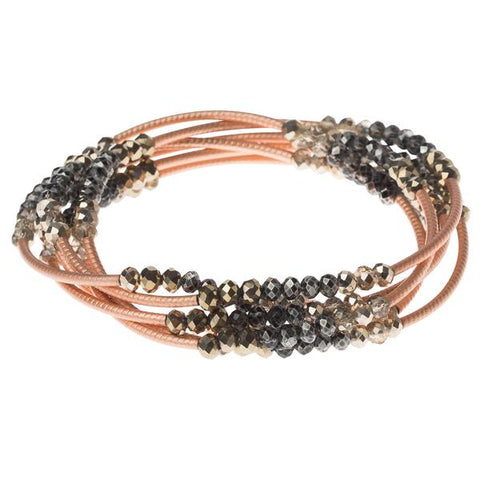 Metallic Tri-tone/Matte Rose Gold Crystal Wrap (BR028)