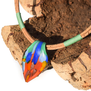 Orange/Blue Murano Glass Cork Necklace (N81-3)