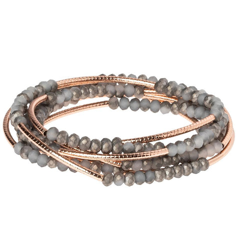 Pewter/Rose Gold Crystal Wrap (BR040)