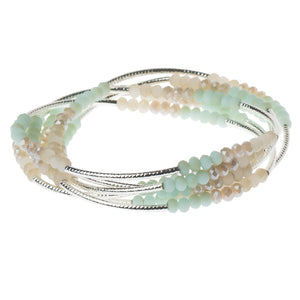 Turquoise Combo/Silver Crystal Wrap (BR025)